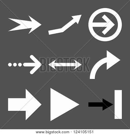 Direction Arrows vector icon set. Collection style is bicolor black and white flat symbols on a gray background. Direction Arrows icons.