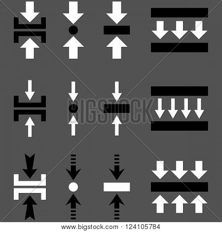 Pressure Vertical vector icon set. Collection style is bicolor black and white flat symbols on a gray background. Pressure Vertical icons.