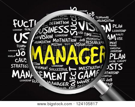 Manager Word Cloud With Magnifying Glass