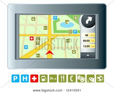 Abstract modern GPRS device with isolated map symbols