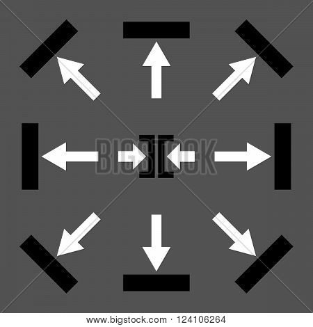 Push Directions vector icon set. Collection style is bicolor black and white flat symbols on a gray background. Push Directions icons.