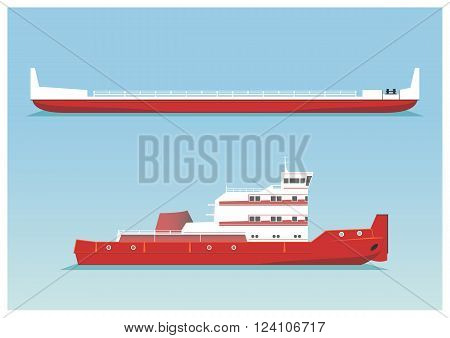 Tugboat and barge. Vector illustration. EPS 10 opacity