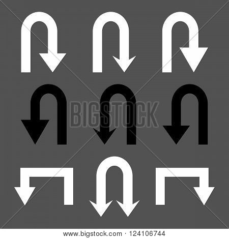 Turn Back Arrows vector icon set. Collection style is bicolor black and white flat symbols on a gray background. Turn Back Arrows icons.