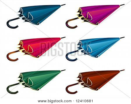 Six colorful classic photo-real man umbrellas isolated