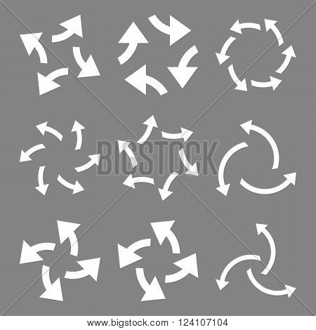 Centrifugal Arrows vector icon set. Collection style is white flat symbols on a gray background. Centrifugal Arrows icons.