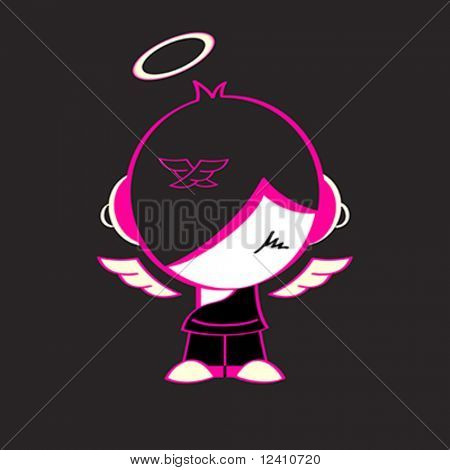 Shy emo god  isolated over black