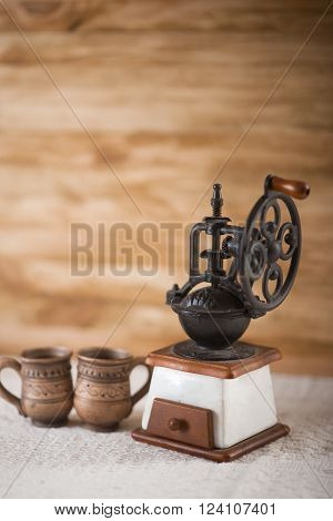 Vintage coffee grinder turkish and two cup