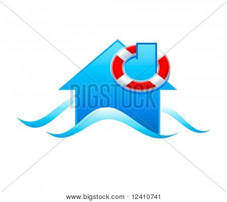 House with life guard under flooding water isolated