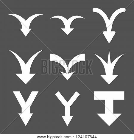 Join Arrows Down vector icon set. Collection style is white flat symbols on a gray background. Join Arrows Down icons.