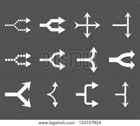 Junction Arrows Right vector icon set. Collection style is white flat symbols on a gray background. Junction Arrows Right icons.