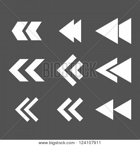 Left Direction vector icon set. Collection style is white flat symbols on a gray background. Left Direction icons.