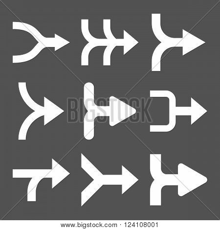 Merge Arrows Right vector icon set. Collection style is white flat symbols on a gray background. Merge Arrows Right icons.