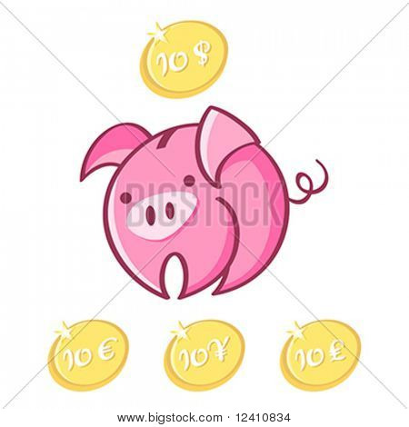 Piggy bank with lucky dollar, euro, yen and pound coins isolated
