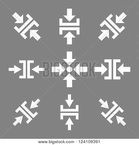 Pressure Directions vector icon set. Collection style is white flat symbols on a gray background. Pressure Directions icons.