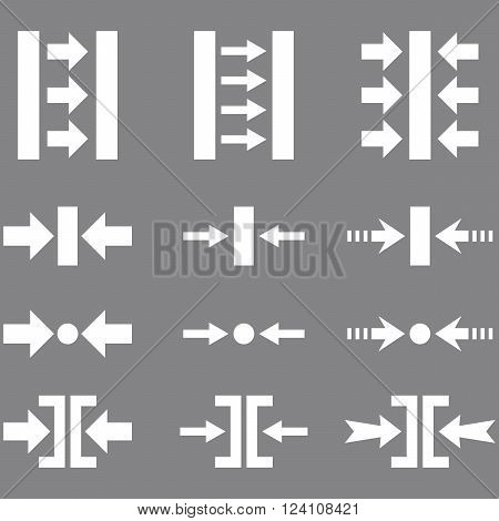 Pressure Horizontal vector icon set. Collection style is white flat symbols on a gray background. Pressure Horizontal icons.