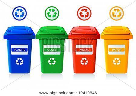 Grandes recipientes para reciclagem de resíduos classificação - plástico, vidro, metal, papel