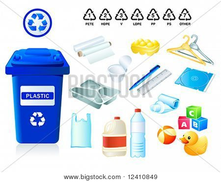 Plastic waste suitable for recycling and plastic codes
