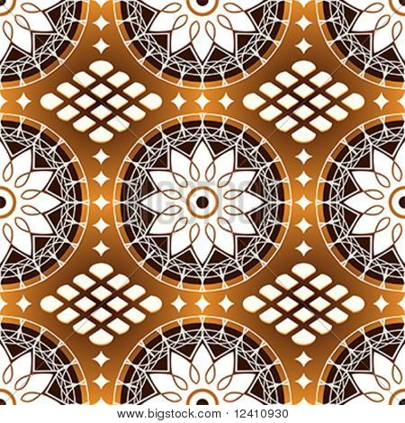 Seamless classic russian lacing pattern in dark coffee colors
