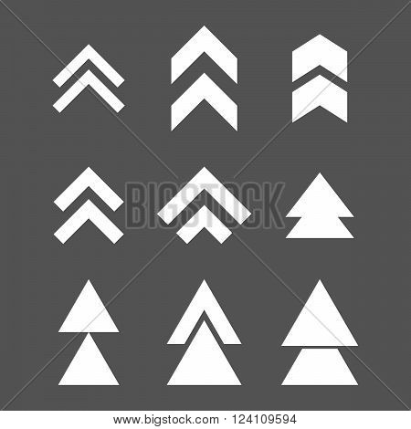 Up Direction vector icon set. Collection style is white flat symbols on a gray background. Up Direction icons.