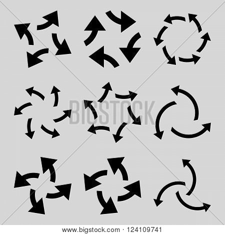 Centrifugal Arrows vector icon set. Collection style is black flat symbols on a light gray background. Centrifugal Arrows icons.