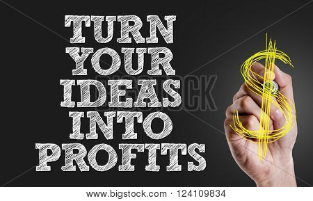 Hand writing the text: Turn Your Ideas Into Profits