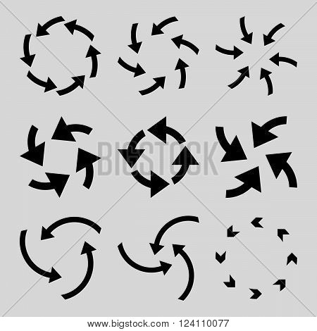 Cyclone Arrows vector icon set. Collection style is black flat symbols on a light gray background. Cyclone Arrows icons.