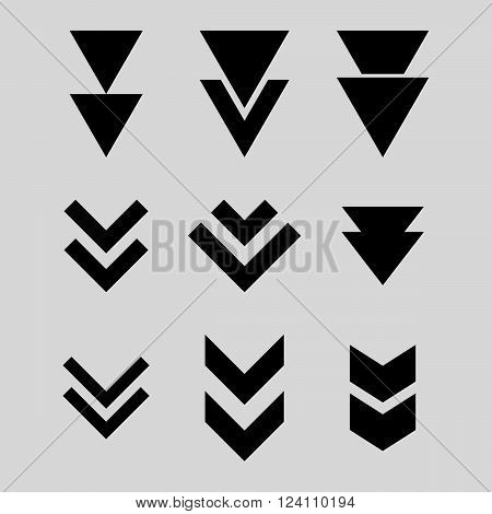 Down Direction vector icon set. Collection style is black flat symbols on a light gray background. Down Direction icons.