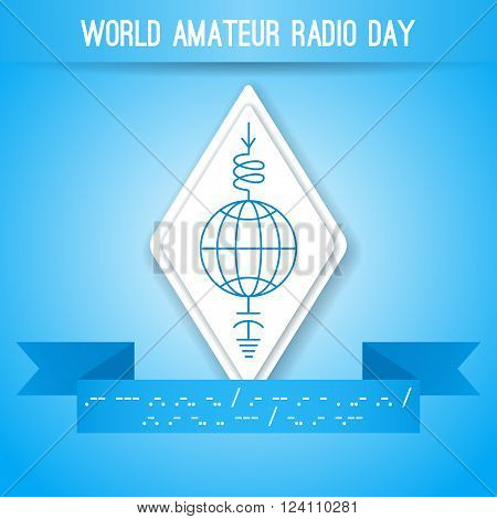 World Amateur Radio Day. Blue and white vector illustration. Ham radio symbol circuit diagram with antenna inductor and ground. Morse code