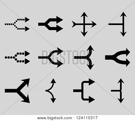 Junction Arrows Right vector icon set. Collection style is black flat symbols on a light gray background. Junction Arrows Right icons.