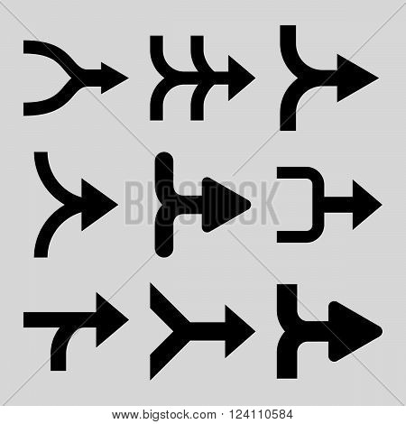 Merge Arrows Right vector icon set. Collection style is black flat symbols on a light gray background. Merge Arrows Right icons.