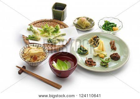 sansai ryori, japanese edible wild plants vegetables cuisine