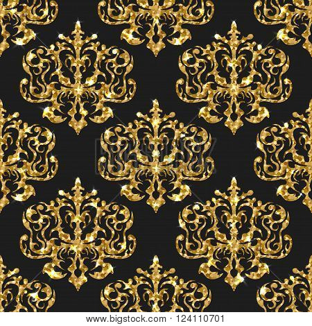 Golden gritter seamless pattern. Vector background with damask ornaments. Gold sparkle design. Wallpaper print with gold.