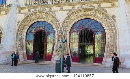 LISBON, PORTUGAL - MARCH 17TH. Two arched entrance doors to Rossio Train Station. Lisbon Portugal March 17th 2016.
