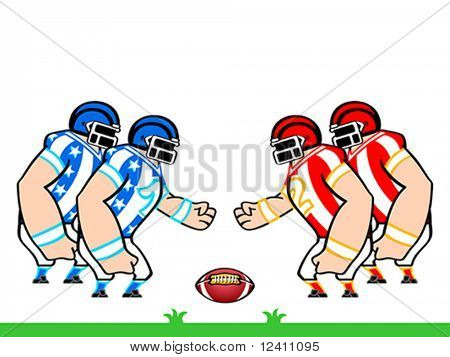 American football teams in star-and-stripes uniform ready to fight