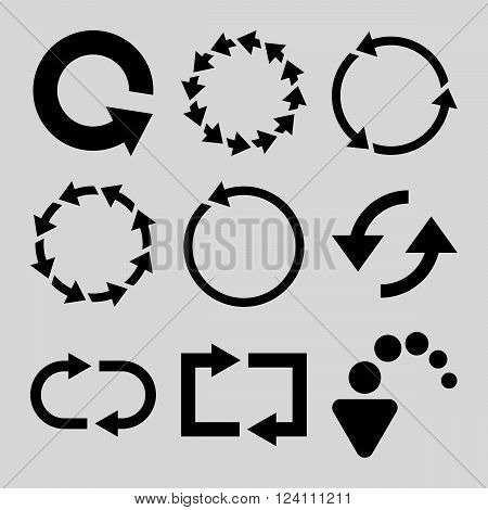 Rotate Arrows vector icon set. Collection style is black flat symbols on a light gray background. Rotate Arrows icons.