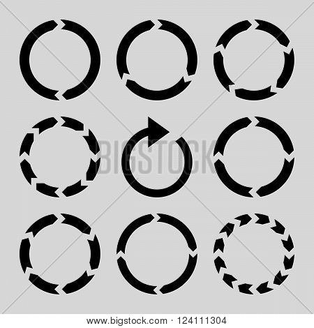 Rotation Direction vector icon set. Collection style is black flat symbols on a light gray background. Rotation Direction icons.