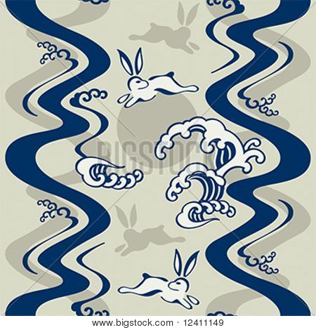 Seamless japanese pattern with moon rabbits and ocean waves