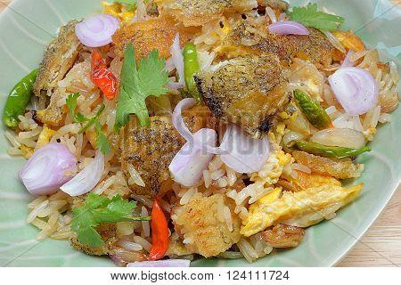 thai food fried rice with Crispy Gourami Fish