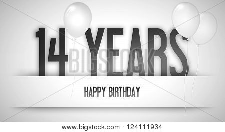 Happy Birthday Card Sign - Balloons - Banner - Anniversary - 14 Years Greetings - Illustration