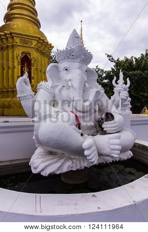 White ganesha statue in Thai temple , art