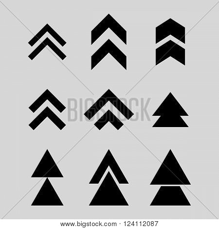 Up Direction vector icon set. Collection style is black flat symbols on a light gray background. Up Direction icons.