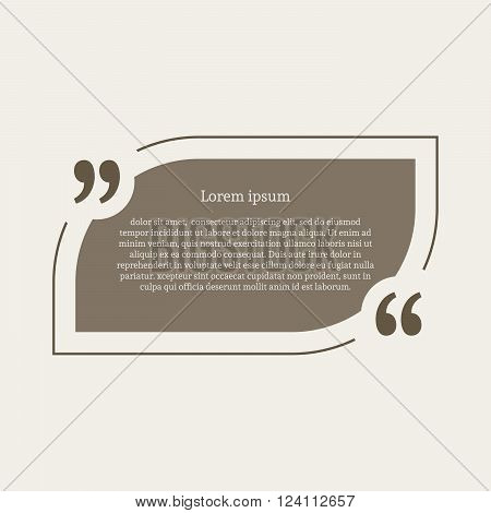 Quotation mark speech bubble. Empty quote blank citation template. Rounded rectangle design element for business card, paper sheet, information, note, message, motivation, comment. Vector illustration