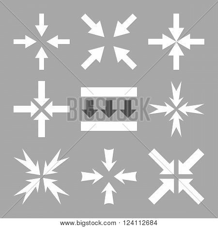 Pressure Arrows vector icon set. Collection style is bicolor dark gray and white flat symbols on a silver background. Pressure Arrows icons.