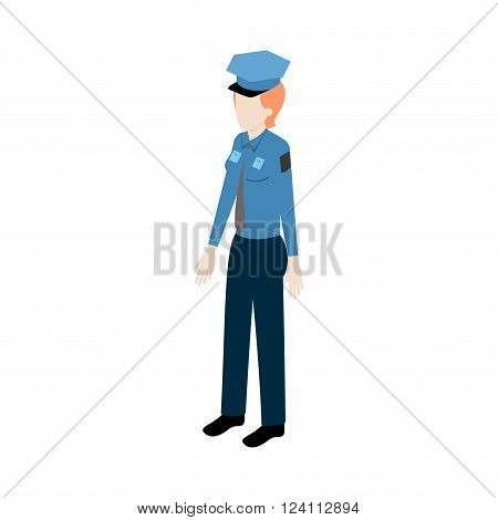 Isometric young redhead woman policeman standing full face for info graphics