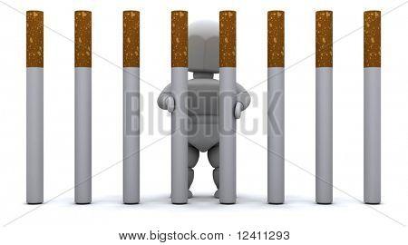 3D Rendern eines Mannes Zigarette Gefängnis