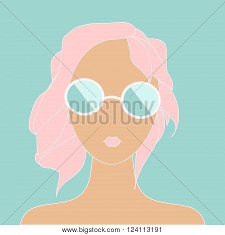 Vetor stylish girl with pink hair in sunglasses. Fashion summer illustration