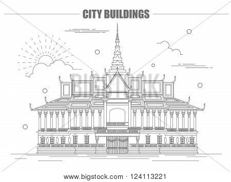 City buildings graphic template. Royal Palace. Cambodia. Vector illustration