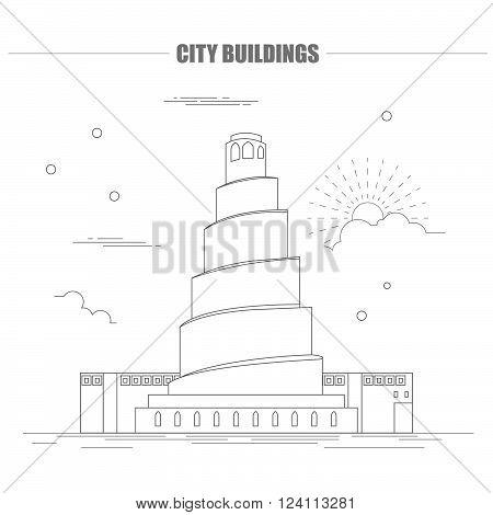 City buildings graphic template. Iraq. Samarra. Vector illustration