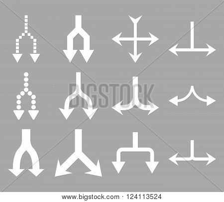 Junction Arrows Down vector icon set. Collection style is white flat symbols on a silver background. Junction Arrows Down icons.