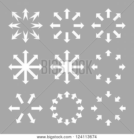 Maximize Arrows vector icon set. Collection style is white flat symbols on a silver background. Maximize Arrows icons.